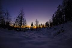 Mrzlo zimsko jutro v Julijskih Alpah