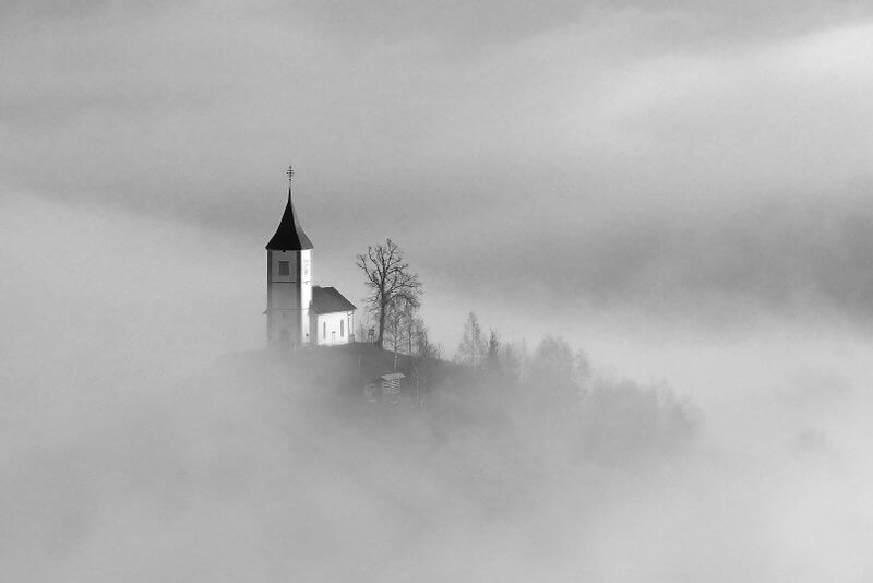 Bogdan Bricelj - Church in sun and mists bw